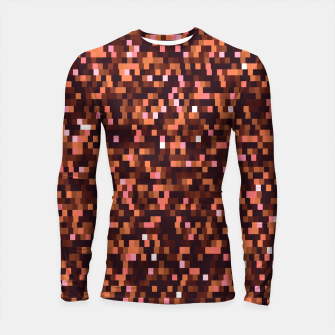 Miniaturka Cinnamon, caramel and almond, brown shades pixels, geometric background Longsleeve rashguard , Live Heroes