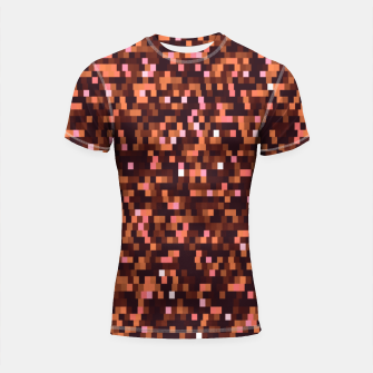 Miniaturka Cinnamon, caramel and almond, brown shades pixels, geometric background Shortsleeve rashguard, Live Heroes