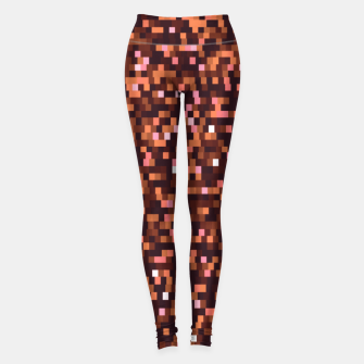 Miniaturka Cinnamon, caramel and almond, brown shades pixels, geometric background Leggings, Live Heroes