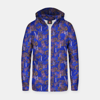 Thumbnail image of Electric blue tropical lush Zip up hoodie, Live Heroes