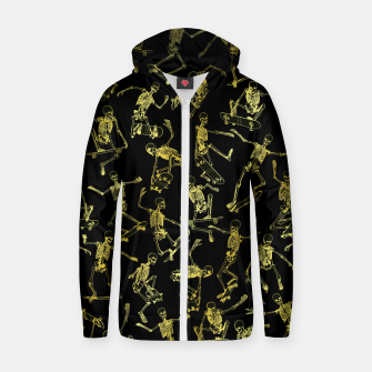 Thumbnail image of Grim Ripper Skater GOLD Zip up hoodie, Live Heroes