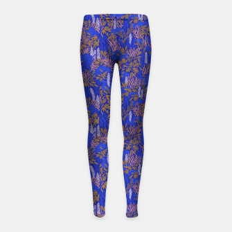 Thumbnail image of Electric blue tropical lush Girl's leggings, Live Heroes