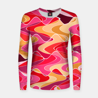 Thumbnail image of Energy waves, vibrant colors, joyful fuchsia print Women sweater, Live Heroes