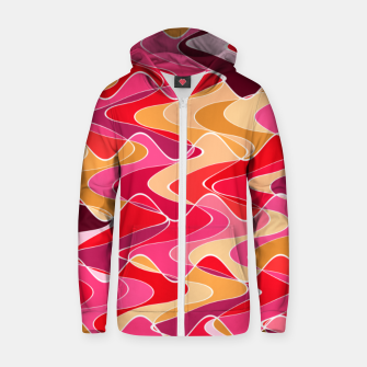 Thumbnail image of Energy waves, vibrant colors, joyful fuchsia print Zip up hoodie, Live Heroes