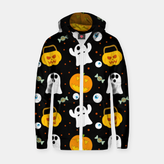Thumbnail image of Halloween Pumpkin And Ghost Pattern Trick Or Treat Candy Zip up hoodie, Live Heroes