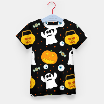 Thumbnail image of Halloween Pumpkin And Ghost Pattern Trick Or Treat Candy Kid's t-shirt, Live Heroes