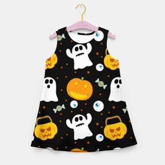 Thumbnail image of Halloween Pumpkin And Ghost Pattern Trick Or Treat Candy Girl's summer dress, Live Heroes