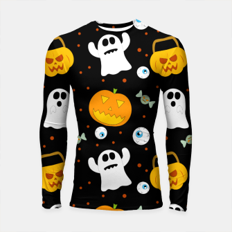 Thumbnail image of Halloween Pumpkin And Ghost Pattern Trick Or Treat Candy Longsleeve rashguard , Live Heroes