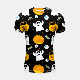 Thumbnail image of Halloween Pumpkin And Ghost Pattern Trick Or Treat Candy Shortsleeve rashguard, Live Heroes
