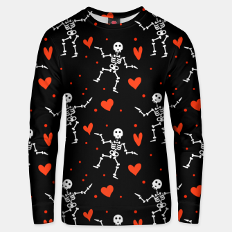 Thumbnail image of Dancing Skeleton Red Hearts Love Funny Halloween Gifts Unisex sweater, Live Heroes