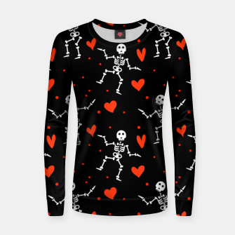 Thumbnail image of Dancing Skeleton Red Hearts Love Funny Halloween Gifts Women sweater, Live Heroes