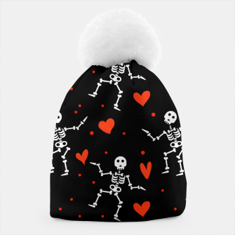 Miniatur Dancing Skeleton Red Hearts Love Funny Halloween Gifts Beanie, Live Heroes
