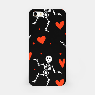 Miniatur Dancing Skeleton Red Hearts Love Funny Halloween Gifts iPhone Case, Live Heroes