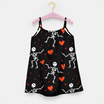 Miniatur Dancing Skeleton Red Hearts Love Funny Halloween Gifts Girl's dress, Live Heroes