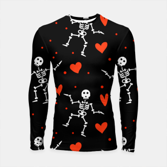 Thumbnail image of Dancing Skeleton Red Hearts Love Funny Halloween Gifts Longsleeve rashguard , Live Heroes