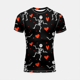 Miniatur Dancing Skeleton Red Hearts Love Funny Halloween Gifts Shortsleeve rashguard, Live Heroes