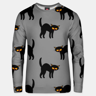 Miniatur Angry Black Cat Yellow Eyes Gray Background Halloween Gifts Unisex sweater, Live Heroes