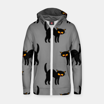 Miniatur Angry Black Cat Yellow Eyes Gray Background Halloween Gifts Zip up hoodie, Live Heroes