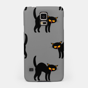 Miniatur Angry Black Cat Yellow Eyes Gray Background Halloween Gifts Samsung Case, Live Heroes