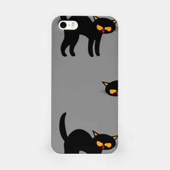 Miniatur Angry Black Cat Yellow Eyes Gray Background Halloween Gifts iPhone Case, Live Heroes