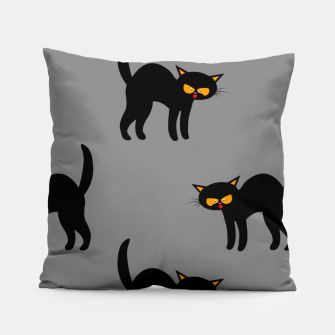 Miniatur Angry Black Cat Yellow Eyes Gray Background Halloween Gifts Pillow, Live Heroes
