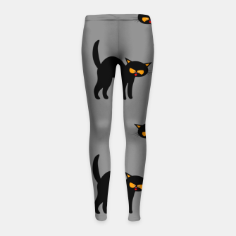 Miniatur Angry Black Cat Yellow Eyes Gray Background Halloween Gifts Girl's leggings, Live Heroes