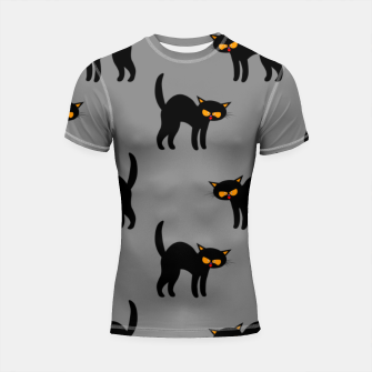 Miniatur Angry Black Cat Yellow Eyes Gray Background Halloween Gifts Shortsleeve rashguard, Live Heroes