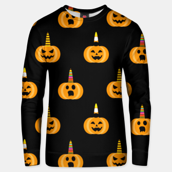 Thumbnail image of Cute Unicorn Pumpkin Black Background Funny Halloween Gifts Unisex sweater, Live Heroes