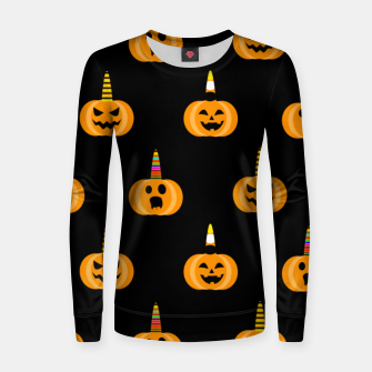 Thumbnail image of Cute Unicorn Pumpkin Black Background Funny Halloween Gifts Women sweater, Live Heroes