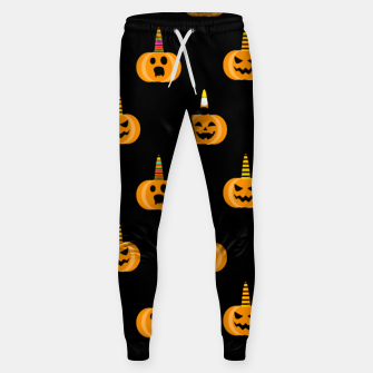 Miniatur Cute Unicorn Pumpkin Black Background Funny Halloween Gifts Sweatpants, Live Heroes