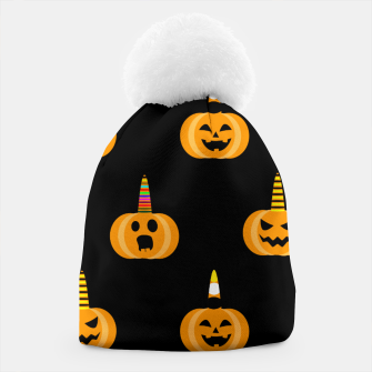 Miniatur Cute Unicorn Pumpkin Black Background Funny Halloween Gifts Beanie, Live Heroes