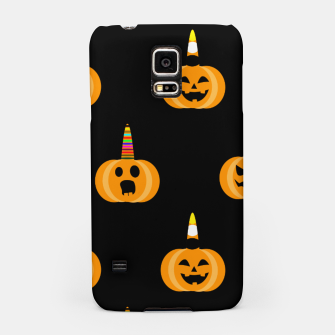 Miniatur Cute Unicorn Pumpkin Black Background Funny Halloween Gifts Samsung Case, Live Heroes