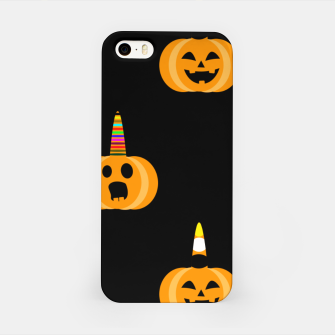 Thumbnail image of Cute Unicorn Pumpkin Black Background Funny Halloween Gifts iPhone Case, Live Heroes