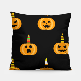 Miniatur Cute Unicorn Pumpkin Black Background Funny Halloween Gifts Pillow, Live Heroes