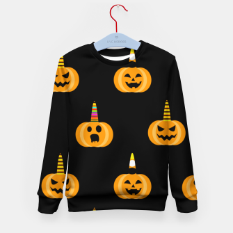 Thumbnail image of Cute Unicorn Pumpkin Black Background Funny Halloween Gifts Kid's sweater, Live Heroes