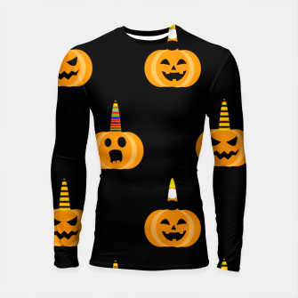 Miniatur Cute Unicorn Pumpkin Black Background Funny Halloween Gifts Longsleeve rashguard , Live Heroes