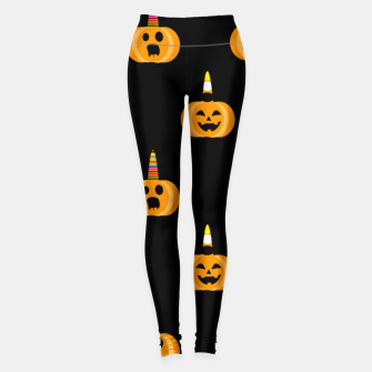 Miniatur Cute Unicorn Pumpkin Black Background Funny Halloween Gifts Leggings, Live Heroes