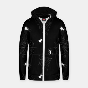Thumbnail image of White Spiders Spiderweb Black Background Halloween Pattern Zip up hoodie, Live Heroes