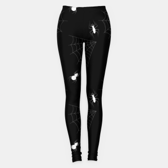 Thumbnail image of White Spiders Spiderweb Black Background Halloween Pattern Leggings, Live Heroes