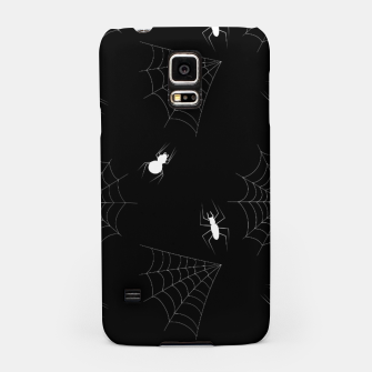 Thumbnail image of White Spiders Spiderweb Black Background Halloween Pattern Samsung Case, Live Heroes