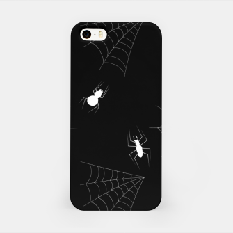 Thumbnail image of White Spiders Spiderweb Black Background Halloween Pattern iPhone Case, Live Heroes