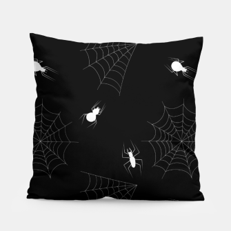 Thumbnail image of White Spiders Spiderweb Black Background Halloween Pattern Pillow, Live Heroes