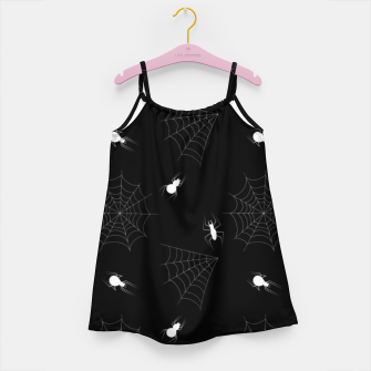 Thumbnail image of White Spiders Spiderweb Black Background Halloween Pattern Girl's dress, Live Heroes