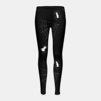 Thumbnail image of White Spiders Spiderweb Black Background Halloween Pattern Girl's leggings, Live Heroes