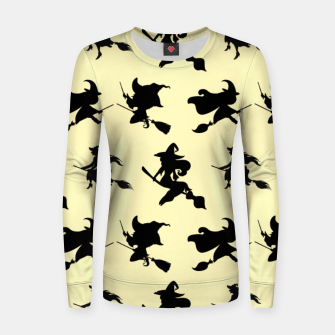 Thumbnail image of Black Flying Witches Broom Silhouette Halloween Gifts Women sweater, Live Heroes