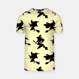 Miniatur Black Flying Witches Broom Silhouette Halloween Gifts T-shirt, Live Heroes
