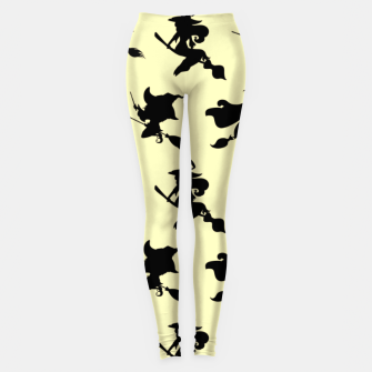 Miniatur Black Flying Witches Broom Silhouette Halloween Gifts Leggings, Live Heroes