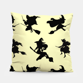 Miniatur Black Flying Witches Broom Silhouette Halloween Gifts Pillow, Live Heroes