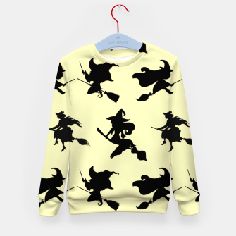 Miniatur Black Flying Witches Broom Silhouette Halloween Gifts Kid's sweater, Live Heroes