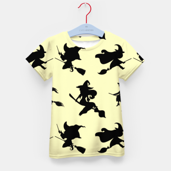Miniatur Black Flying Witches Broom Silhouette Halloween Gifts Kid's t-shirt, Live Heroes
